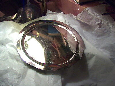 International Silver footed silverplate tray about 12 1/4 inches 1 inch high