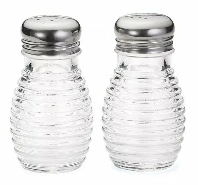 Vintage Style Clear Glass Beehive Salt & Pepper Shaker Set Stainless Steel Top