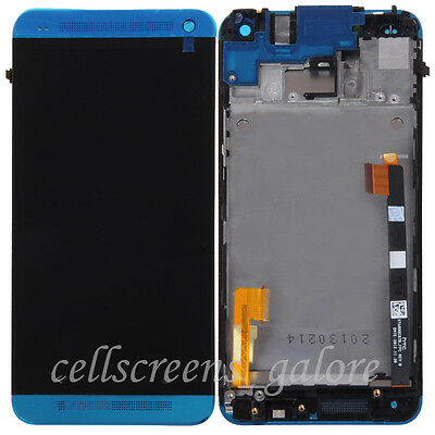 Blue Touch Screen Digitizer+LCD Display Assembly With Frame For HTC One M7 Parts