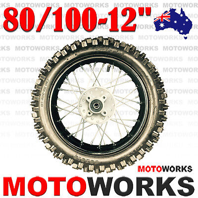 "80/100 - 12"" Inch Rear Back Wheel Rim Tyre Tire 125CC Dirt Pit PRO Trail Bike"