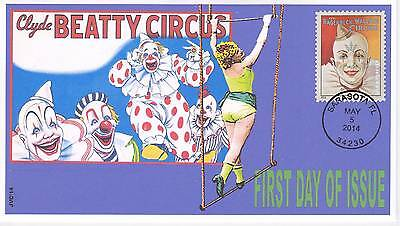 Jvc Cachets - 2014 Vintage Circus Posters First Day Covers Fdc Trapeeze Lady