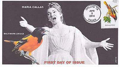 Jvc Cachets -2014 Songbirds First Day Covers Fdc Topical Music Maria Callas
