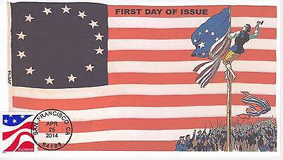 Jvc Cachets -2014 Red White & Blue First Day Covers Fdc Topical 1St Flag Raising