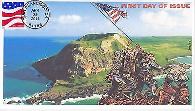 Jvc Cachets -2014 Red White & Blue First Day Covers Fdc Topical  Iwo Jima Flag