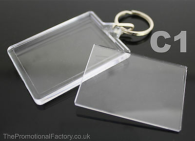 Clear view Acrylic Plastic BLANK PHOTO KEYRING 50 x 35 mm Insert (Ref:C1)