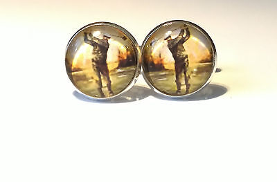 Golf Swing, Vintage Golf, Glass domed cufflinks, Dad,Father gift for him