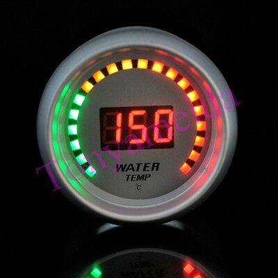 """New Auto Car 2"""" 52mm Water Temp Red Digital Color 20 LED Temperature Gauge White"""