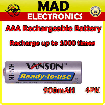 AAA Low Discharge NiMH Rechargeable Battery 4pk UP TO 1000 Recharge Times 900mAH