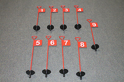 1 - 9 Numbered Complete Set Of Golf Practice Putting Green Flags