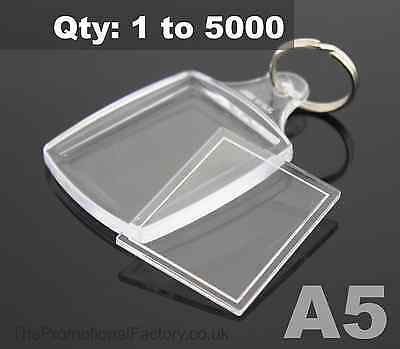 Clear Acrylic Plastic BLANK PASSPORT PHOTO KEYRING 45 x 35 mm Insert (Ref:A5)