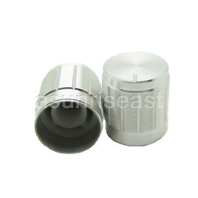 10x Silvery Rotary Cap Aluminum Knob for 6mm Knurled Splined Shaft Potentiometer
