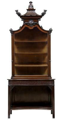 Edwardian Mahogany Carved Chinese Chippendale Style Display Cabinet