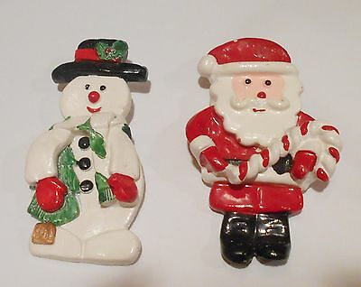 2 Large Vtg Santa and Snowman Coated Celluloid Xmas Candy Cane Tree Holly Pin
