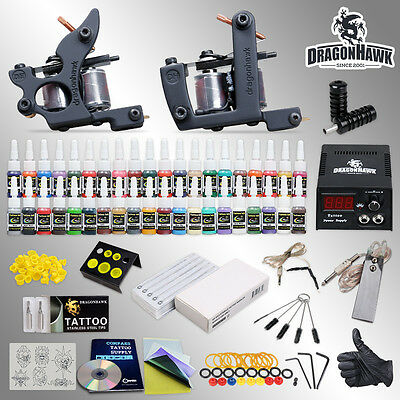 Complete Tattoo Kit 2 Top Machine Gun 40 Color Ink Power Supply Needle HW-10VD-2