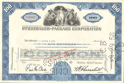 Studebaker Packard   old automobile car stock certificate 100 share blue