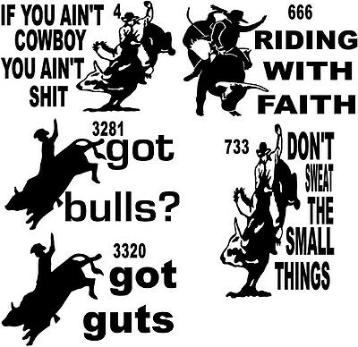 bull riders cow rodeo hat steer 8 second VINYL DECAL STICKER 4 666 733 3281 3320