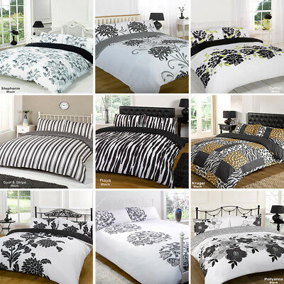 Duvet Quilt Cover Bedding Set Black White Single Double King Kingsize Super King