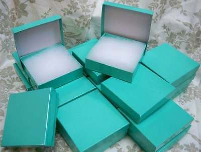 Lot Of 100  Teal Colored Cotton Filled Retail Gift Jewelry Boxes/Choose Size