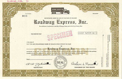Roadway Express > Akron Ohio trucking company stock certificate > now YRC