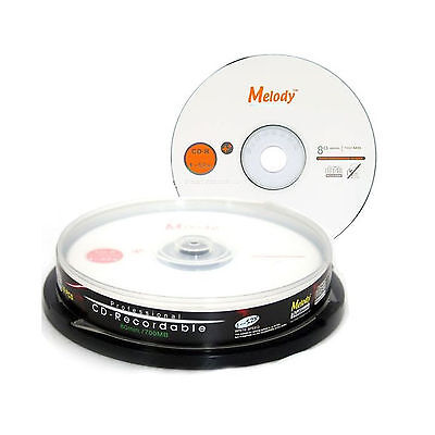 10 Pcs Blank CD-R CDR Recordable Media Disc MUSIC PHOTO 700MB 80 MIN 52X w/ Case