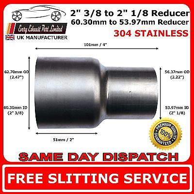 "2.375"" to 2.125"" Stainless Steel Standard Exhaust Reducer Connector Pipe Tube"