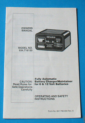Sears Battery Charger Manual Guide Model No 934.716150