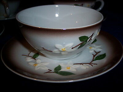Orchard Ware ORC3 Pattern  Brown Trim Set of 4 Cup and Saucer Sets