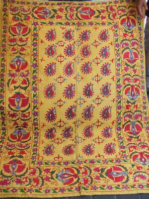 ANTIQUE UZBEK SILK HAND MADE- EMBROIDERED SUZANI 169x123-cm / 66.5x48.4-inches