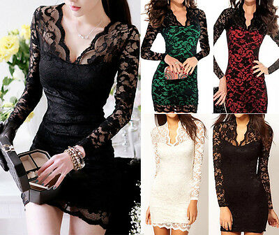 HOT Women Summer Sexy Bodycon Evening Cocktail Party Lace Mini Dress Club Wear