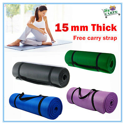Free Postage New SuperThick 15MM NBR Yoga Gym Pilate Mat NonSlip Free CarryStrap