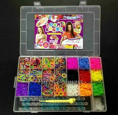 Large Rainbow Loom Band Storage case kit-7200 Bands Board Hook Clips+FREE Charms