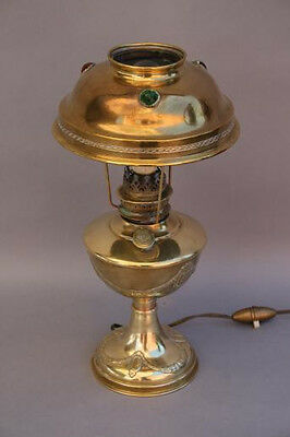 Early 1900s Brass Art Noveau Jeweled Table Lamp Light Spanish Revival (3931)