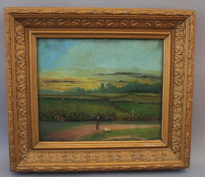 Early 1900s Man & Dog European Landscape Art Painting Oil  Canvas 20th C. (2908)