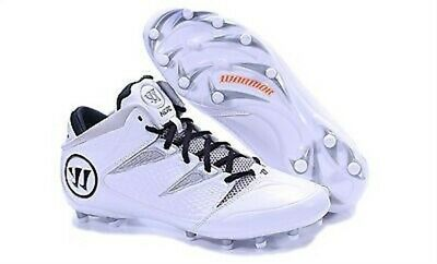 Warrior Nero Wt White & Gray Adult Men's Lacrosse Cleat Shoes  Size 10