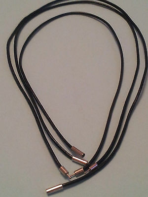 2Mm Black Real Leather Choker Necklace Cord With Bayonet Clasp