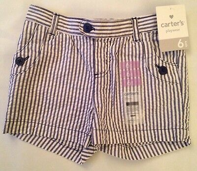 NWT Carter's Girls Or Boys Size 6 Blue Striped Shorts Retail $18
