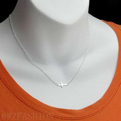 """Real sterling silver .925 sideways cross pendant with silver necklace 16""""-18"""""""