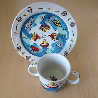 Mes Ames by Essex Kids NAUTICAL SEALIFE Children's Set Double Handle Cup & Plate