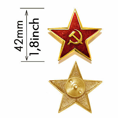 NEW 100% SOVIET ARMY UNIFORM RED STAR HAT USSR FIELD BADGE PIN METAL SIZE1,8INCH