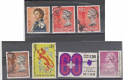 (Q6-69) 1962 Hong Kong mix of 7 stamps $1.30 to $20
