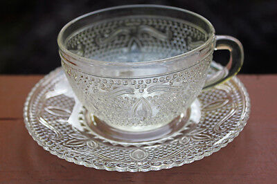 EAPG Federal Glass Co. Crystal Cup and Saucer Heritage Pattern