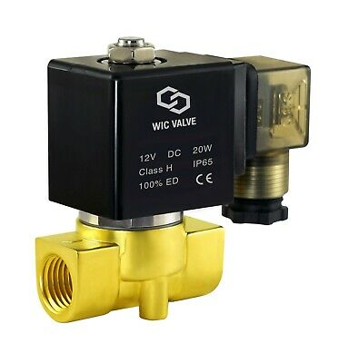 Brass Air Water Electric Solenoid Process Valve Normally Closed 12V DC 3/8 Inch