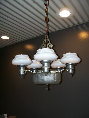 ANTIQUE 5-Arm CHANDELIER with GLASS Shades - CEILING Light - Hanging  (#L248)