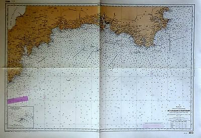 "Carte Marine Manche ""Du Cap Lizard à Start Point-1888 Ed 1954-75 X 106 cm"