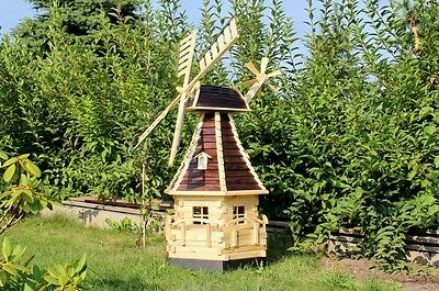 4.59 ft. large Real wood wind mill with solar lighting type 15.1
