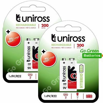 2 x Uniross Hybrio 9V 200 mAh NiMH Rechargeable Battery, Stay Charged 9 Volt PP3