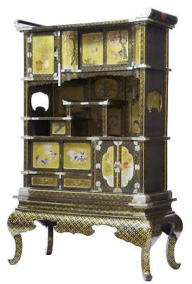 19Th Century Japanese Black And Gold Laquered Display Cabinet