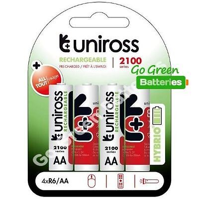 4 x Uniross HYBRIO AA 2100 mAh Rechargeable Batteries, Pre Charged NiMH LR6, HR6