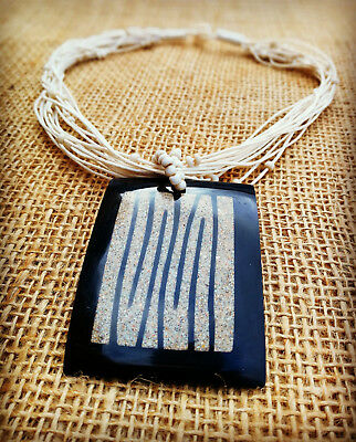 """Black Rectangle Surf Style Pendant / Choker with """"Tiger"""" Effect Handmade in Bali"""