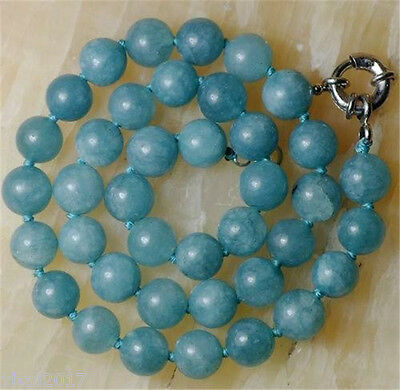 "12mm Natural Aquamarine Round Beads Necklace 18""AAA"